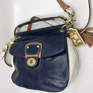 COACH White Blue Leather Crossbody Bag